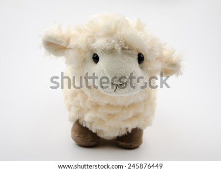 sheep toy isolated on a white background - stock photo
