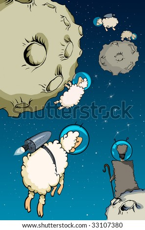 Sheeps in space - stock photo