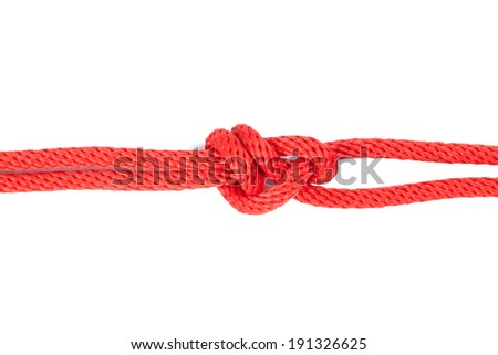 Sheet Bend Knot isolated on white background - stock photo