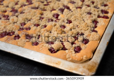 Sheet Cake with cherries - stock photo