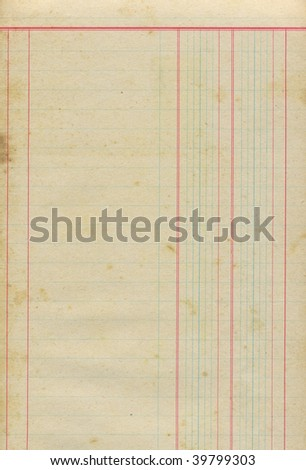 Sheet from old merchandise notebook - stock photo