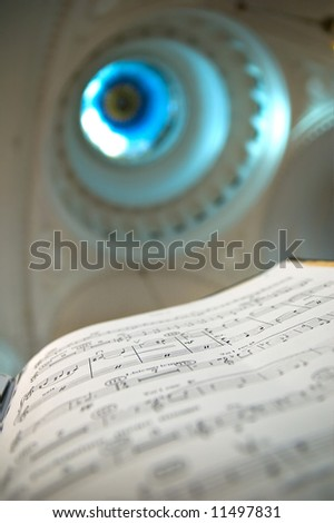 Sheet music - music notes on the concert in synagogue - stock photo