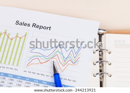 sheet of annual sales report with blue pen - stock photo