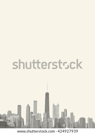 Sheet of Chicago made with city skyline  - stock photo