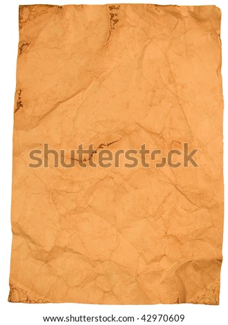 Sheet of crumpled old paper (isolated on white)