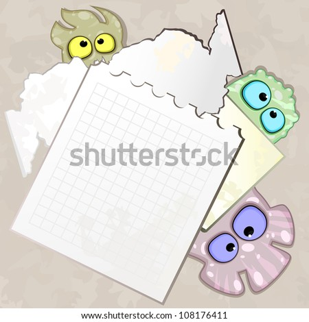 Sheet of dirty paper and hiding little monsters - stock photo