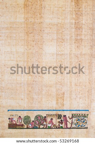 sheet of Egyptian papyrus paper with agriculture / farm scene - stock photo