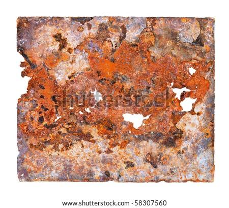 Sheet of ferruginous metal. Isolated on a white background - stock photo