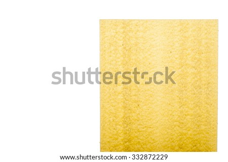 Sheet of lasagne on the white background - stock photo