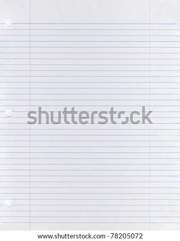 Sheet of looseleaf paper - stock photo