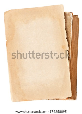 sheet of old paper and book on white background