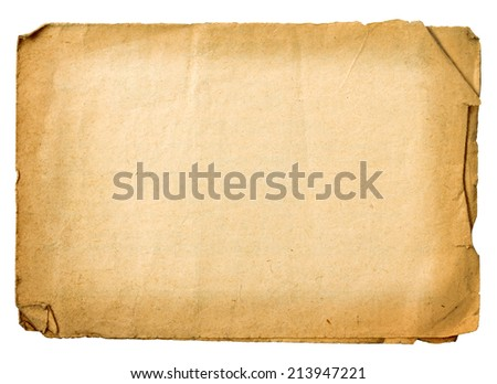 Sheet of old paper isolated on white background