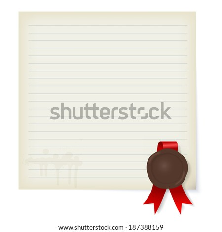 Sheet of old paper with a wax seal - stock photo