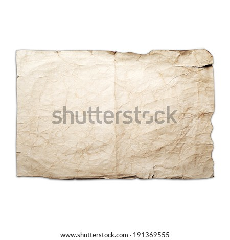 Sheet of old yellow crumpled paper isolated on white - stock photo