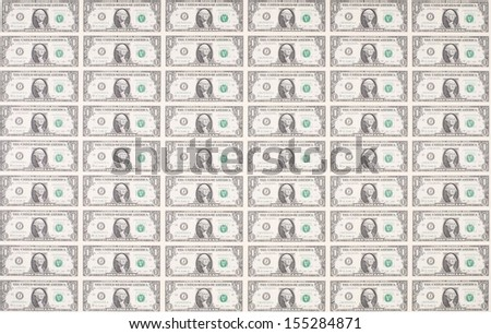 Sheet of One Dollar Bills as Wallpaper or Background - stock photo