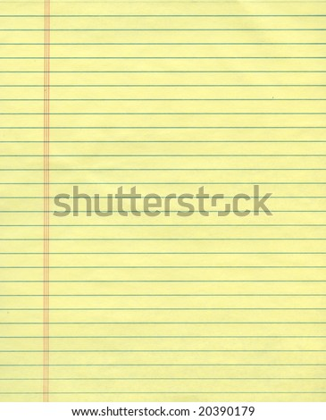Sheet of ordinary yellow ruled exercise paper