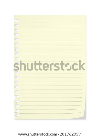 Sheet of paper, cream colour, torn from school notepad, notebook. Lifting, curled corner. Background. - stock photo