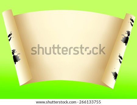 Sheet of paper for an inscription on a green background - stock photo