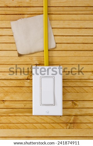 Sheet of paper for the wiring going to the switch. - stock photo