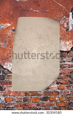 Sheet of paper in Grunge red brick texture