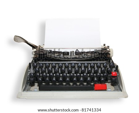 Sheet of paper inserted into the typewriter - stock photo