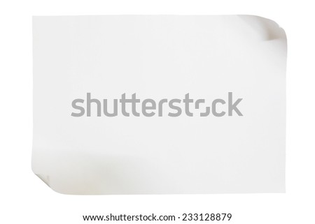 sheet of paper isolated on white - stock photo