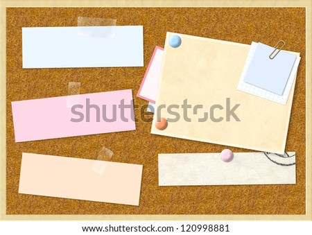 Sheet of paper on cork board