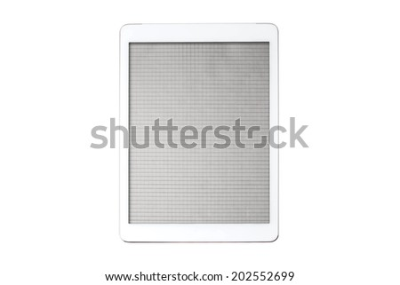 sheet of paper on the tablet screen