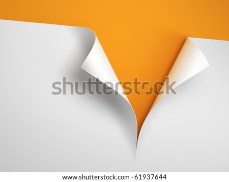 Sheet of paper with the curled corner 3d rendering - stock photo