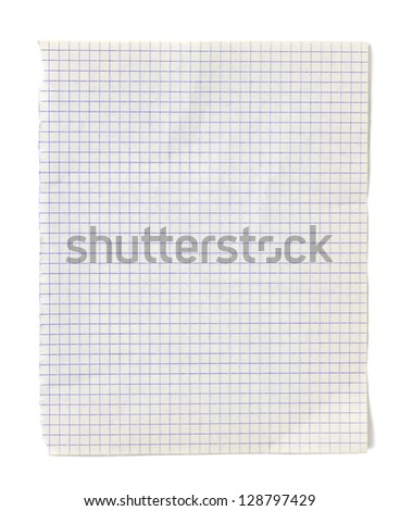 Sheet of squared paper isolated on white background