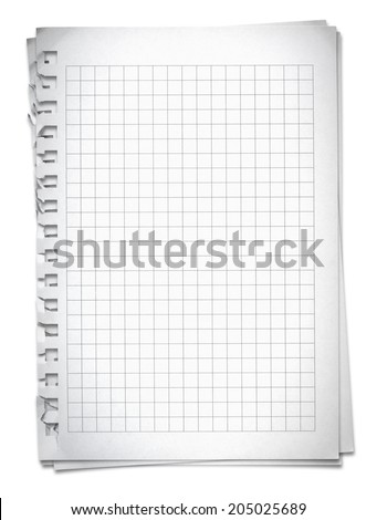 Sheet of squared paper with shadow: clipping path included. - stock photo