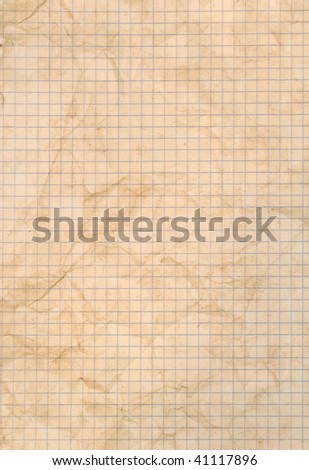 Sheet of stained squared paper - stock photo