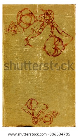 Sheet of the old shabby with pattern, crumpled paper with a grainy texture