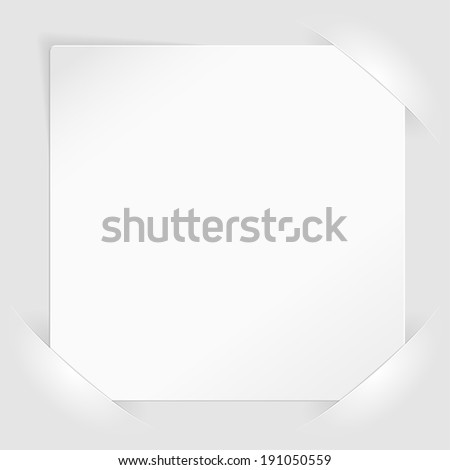 Sheet of white paper for your text or photos, mounted in pockets, template for design