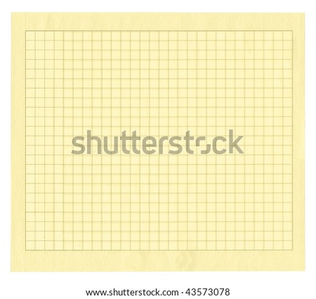 sheet of yellow squared paper isolated on white background