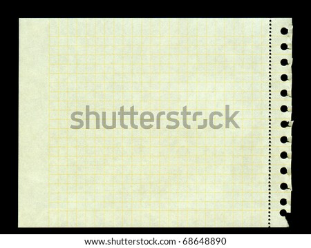 sheet of yellow squared paper torn out of a ring binder, left edge is frayed - stock photo