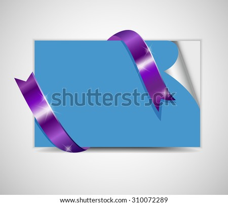Sheet paper with ribbon - stock photo