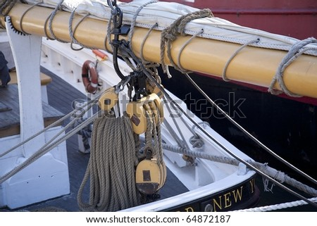 Sheeting system on a sailboat.
