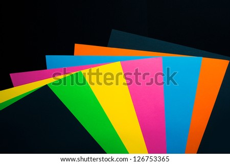 sheets of color paper studio shot