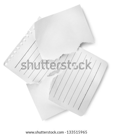 Sheets of lined papers isolated on white background