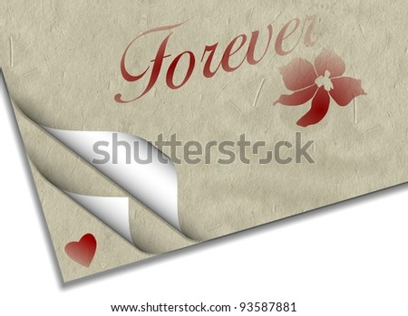 Sheets of paper with a heart a flower and word forever printed on them / Forever love