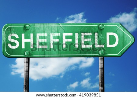 Sheffield, 3D rendering, a vintage green direction sign