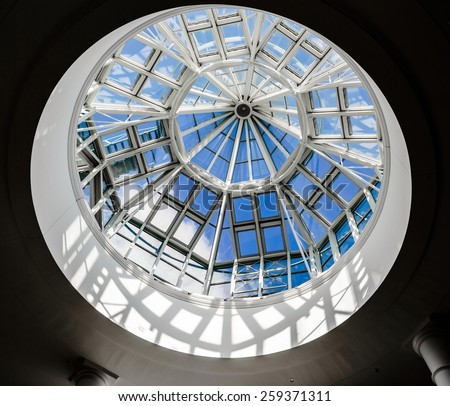 SHEFFIELD, ENGLAND - MARCH 4: A glass dome in the ceiling at Meadowhall Shopping Centre, in Sheffield, England. On 4th March 2015.