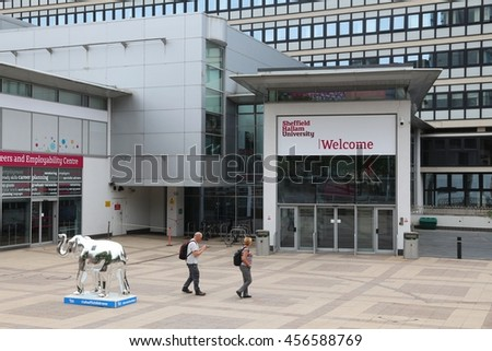 SHEFFIELD, UK - JULY 10, 2016: People visit Sheffield Hallam University in the UK. The public university is 6th largest in the UK with 31,530 students. - stock photo