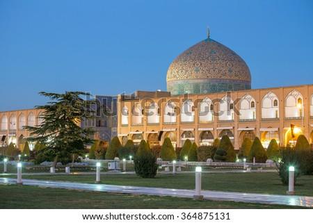 Sheikh Lotfollah Mosque at Naqhsh-e Jahan Square in Isfahan, Iran. Night shot. - stock photo