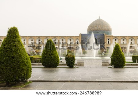 Sheikh Lutfollah mosque in Naqsh-e Jahan square at morning, Isfahan, Iran - stock photo