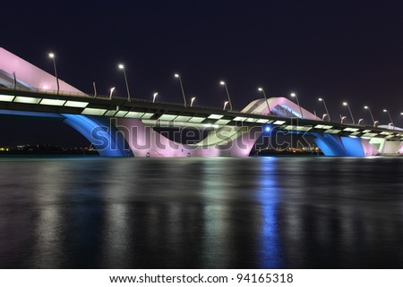 Sheikh Zayed Bridge at night, Abu Dhabi, United Arab Emirates