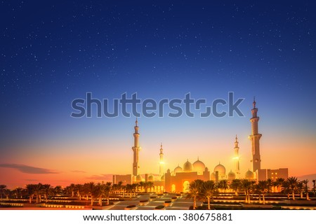 Sheikh Zayed Grand Mosque at dusk, Abu-Dhabi, UAE - stock photo