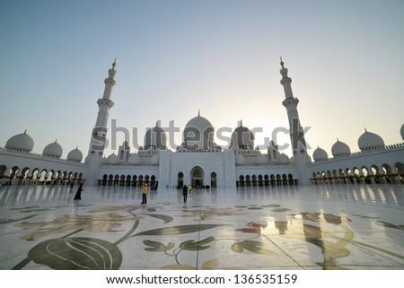 Sheikh Zayed Grand Mosque in Abu Dhabi - stock photo