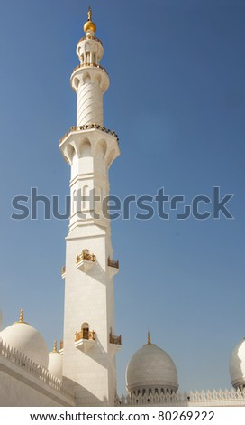 Sheikh Zayed Grand Mosque in Abu Dhabi is the largest mosque in the United Arab Emirates and the eighth largest mosque in the world. It is named after Sheikh Zayed bin Sultan Al Nahyan, - stock photo